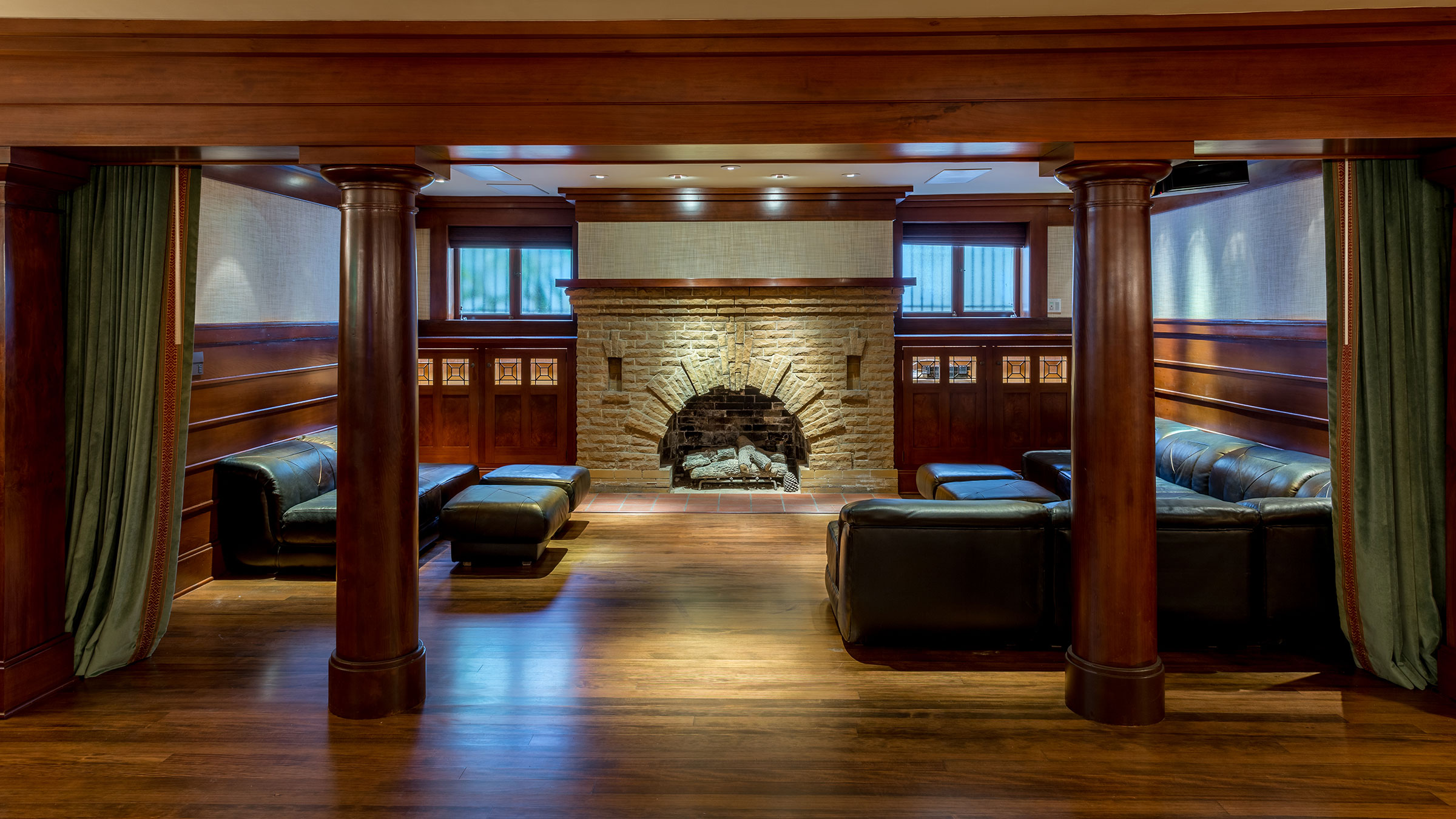 Clark Mansion Alameda Lounge Area with Fireplace Buestad Construction