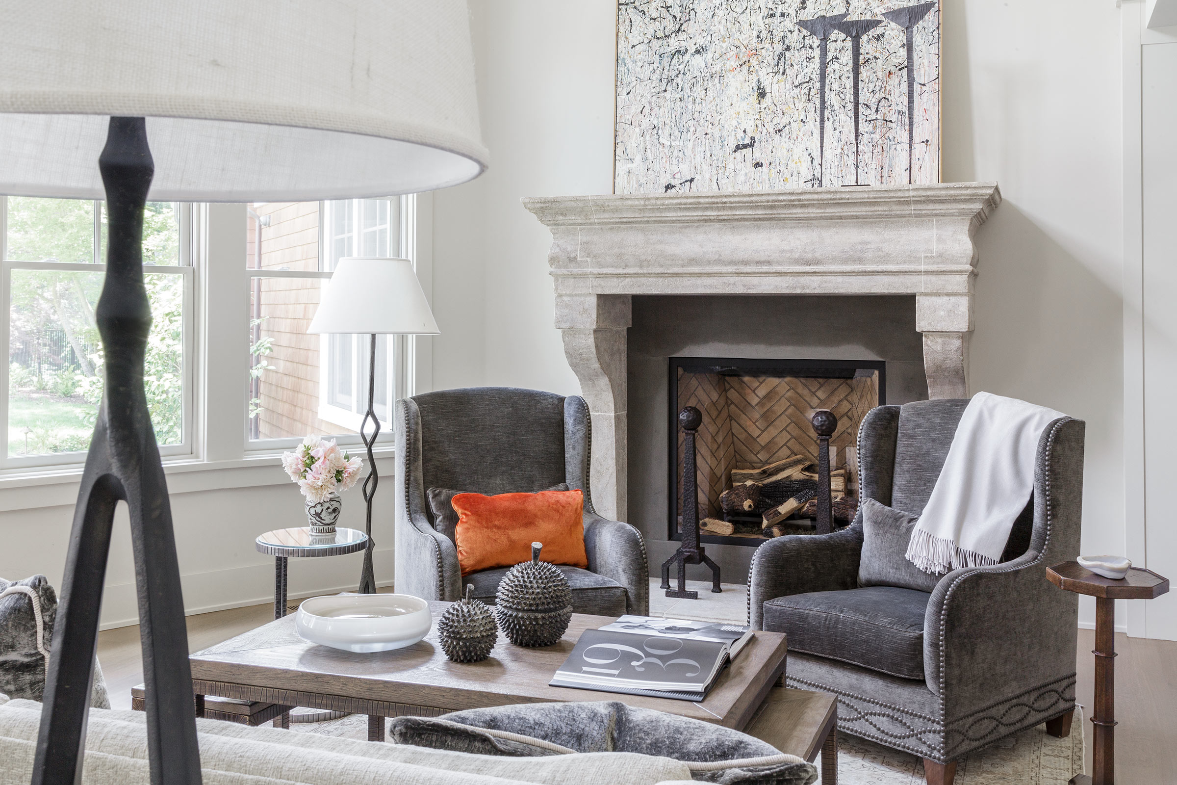 Diablo Shingle Style Living Room with Fireplace Buestad Construction