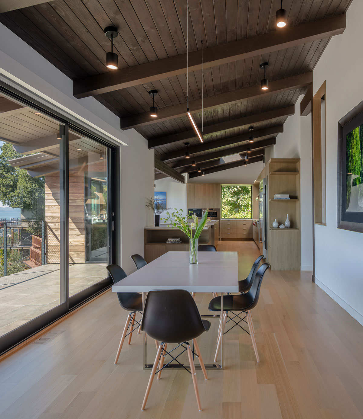 Piedmont HIllside Dining Side With View Buestad Construction