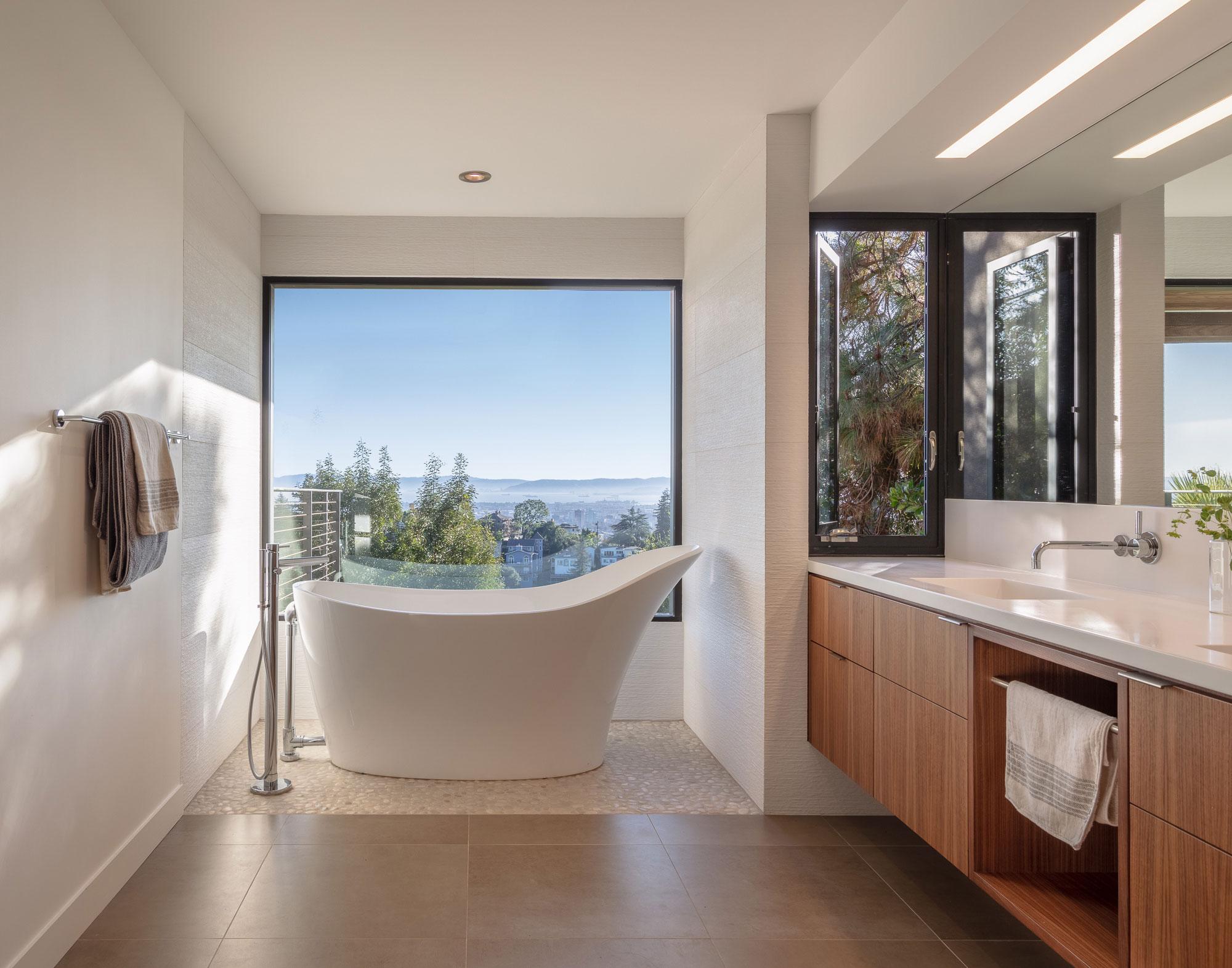 Piedmont HIllside Master Bath Tub with View Buestad Construction