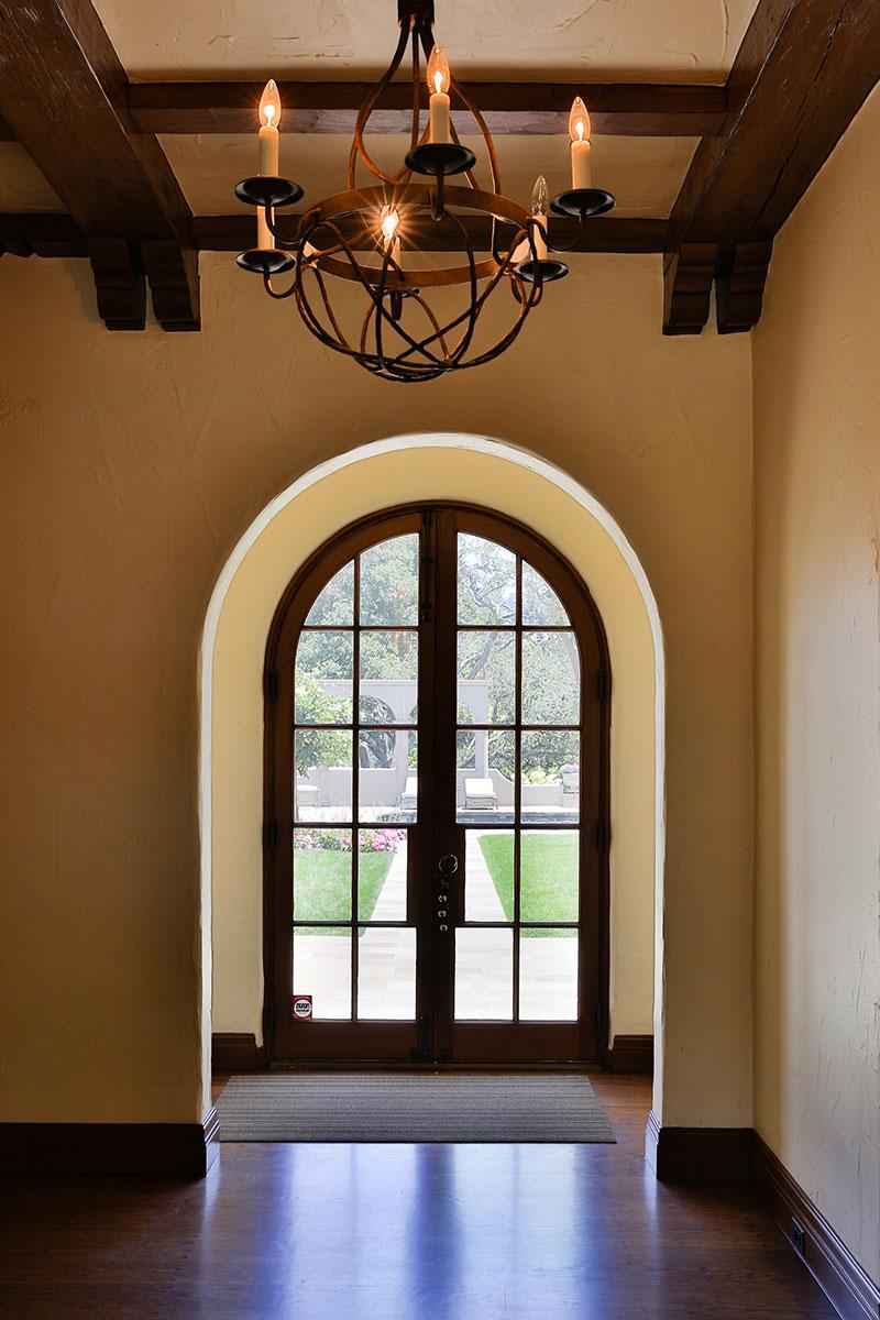 Piedmont Mediterranean Revival Rear Door  Looking Out Buestad Construction