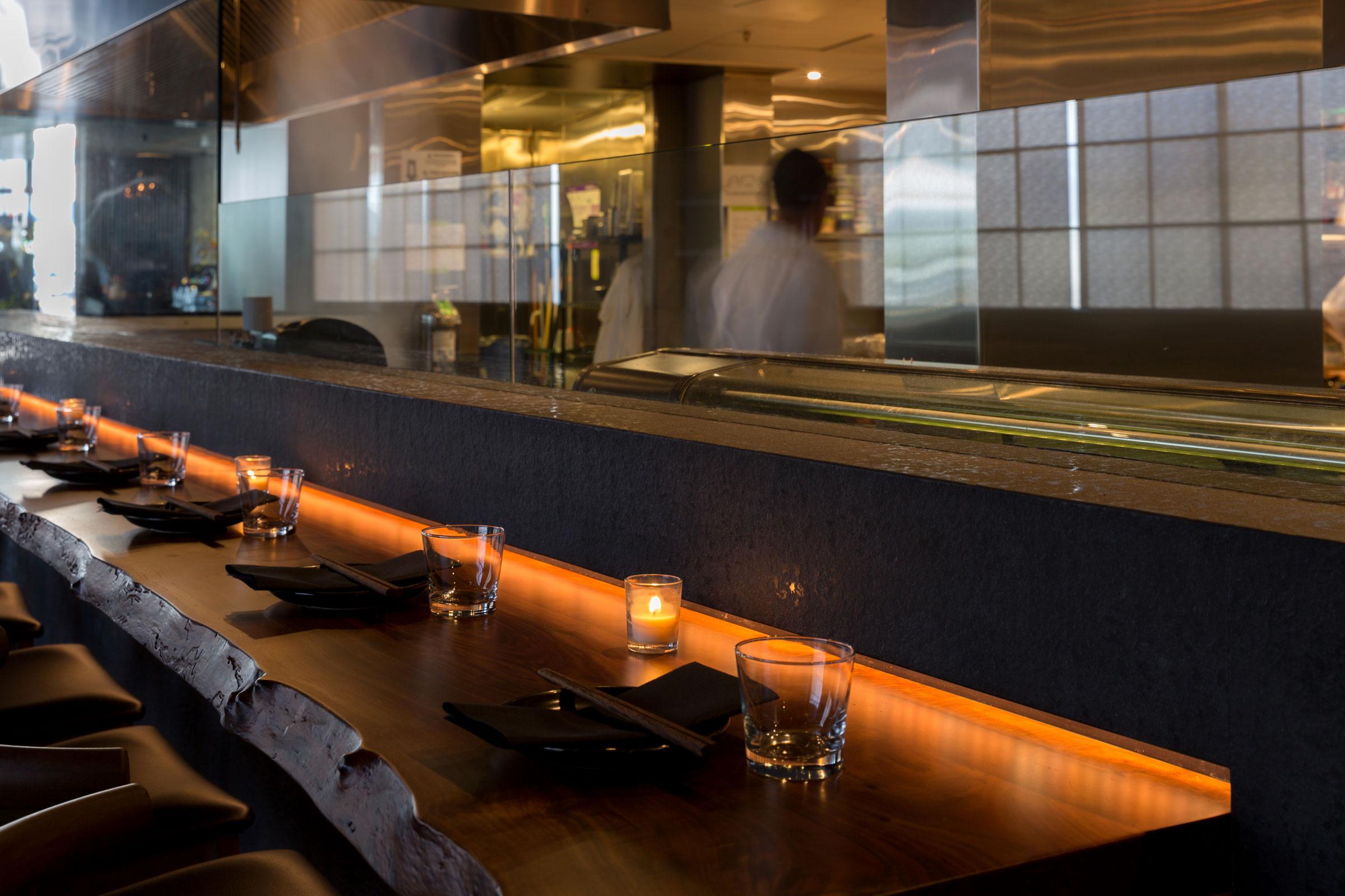 Shinmai Restaurant Bar with Live Edge Detail Buestad Construction