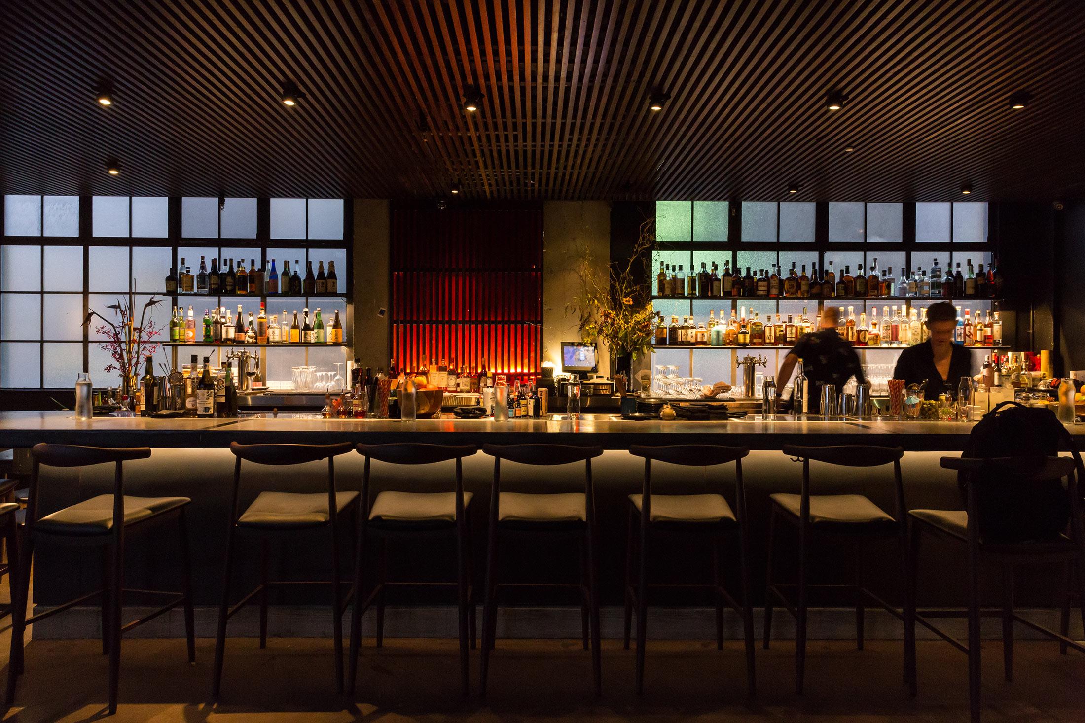 Shinmai Restaurant Bar with Slatted Roof Buestad Construction