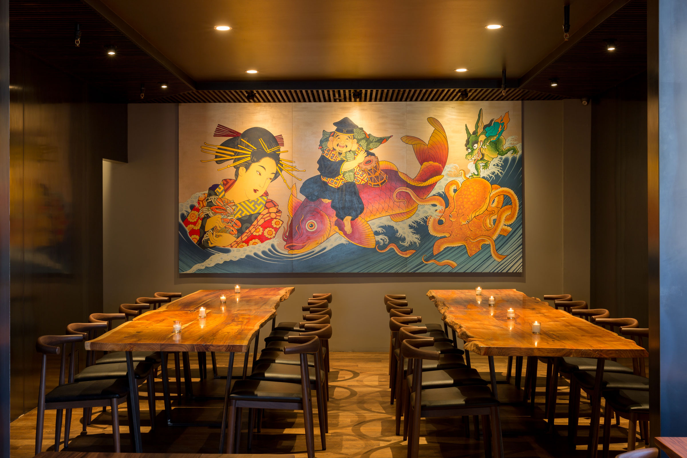 Shinmai Restaurant Dining Area with Large Artwork Buestad Construction